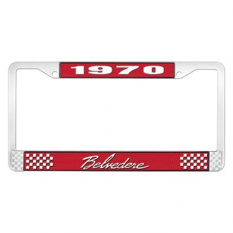 OER® - Red / Chrome License Plate Frame with White 1970 Belvedere Logo