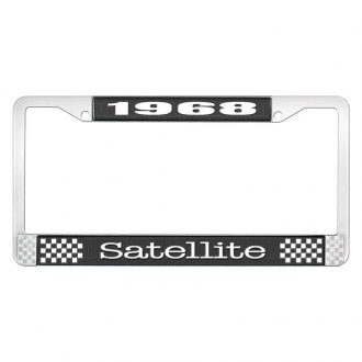 OER® - Black / Chrome License Plate Frame with White 1968 Satellite Logo