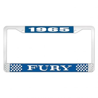 OER® - Blue / Chrome License Plate Frame with White 1965 Fury Logo