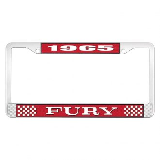 OER® - Red / Chrome License Plate Frame with White 1965 Fury Logo