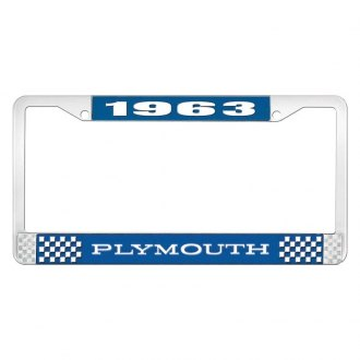 OER® - Blue / Chrome License Plate Frame with White 1963 Plymouth Logo