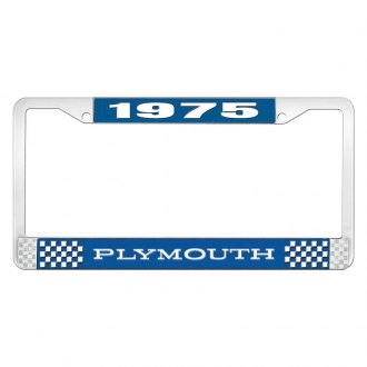OER® - Blue / Chrome License Plate Frame with White 1975 Plymouth Logo