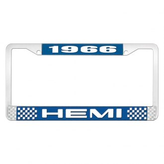 OER® - Blue / Chrome License Plate Frame with White 1966 HEMI Logo
