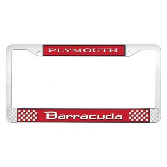 OER® - Red / Chrome License Plate Frame with White Plymouth Barracuda Logo