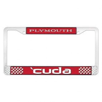 OER® - Plymouth 'Cuda Logo on Red License Frame