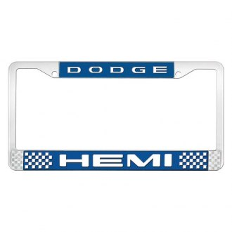 OER® - Blue / Chrome License Plate Frame with White Dodge HEMI Logo