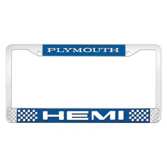 OER® - License Plate Frame with White Plymouth HEMI Logo