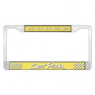 OER® - Yellow Banana / Chrome License Plate Frame with White Dodge Scat Pack Logo