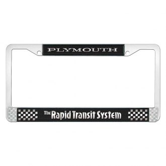 OER® - Black / Chrome License Plate Frame with Silver Plymouth Rapid Transit System Logo