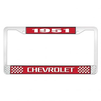 OER® - Red / Chrome License Plate Frame with Style 3 White 1951 Chevrolet Logo