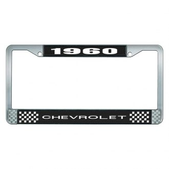 OER® - License Plate Frame with White 1960 Chevrolet Logo and White Lettering Style 1