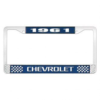 OER® - 1961 Chevrolet Blue And Chrome Logo License Plate Frame with White Lettering Style 3