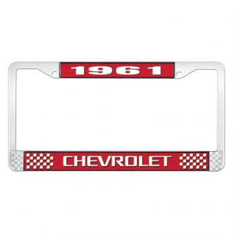 OER® - 1961 Chevrolet Red And Chrome Logo License Plate Frame with White Lettering Style 3