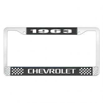 OER® - License Plate Frame with White 1963 Chevrolet Logo and White Lettering Style 3