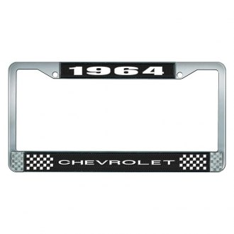 OER® - 1964 Chevrolet Black And Chrome Logo License Plate Frame with White Lettering Style 1