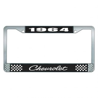 OER® - 1964 Chevrolet Black And Chrome Logo License Plate Frame with White Lettering Style 4