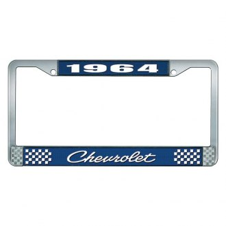 OER® - 1964 Chevrolet Blue And Chrome Logo License Plate Frame with White Lettering Style 4