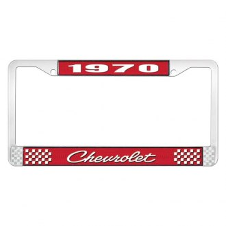OER® - 1970 Chevrolet Red And Chrome Logo License Plate Frame with White Lettering Style 4