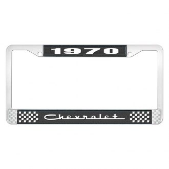 OER® - 1970 Chevrolet Black And Chrome Logo License Plate Frame with White Lettering Style 5
