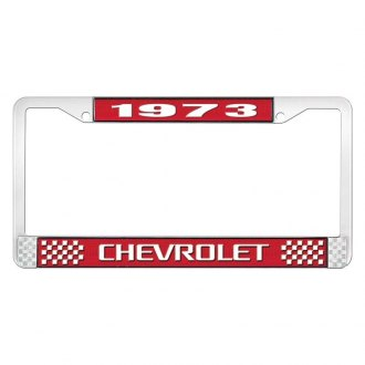 OER® - 1973 Chevrolet Red And Chrome Logo License Plate Frame with White Lettering Style 3