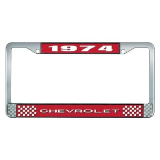 OER® - Red / Chrome License Plate Frame with White 1974 Chevrolet Logo and White Lettering Style 1