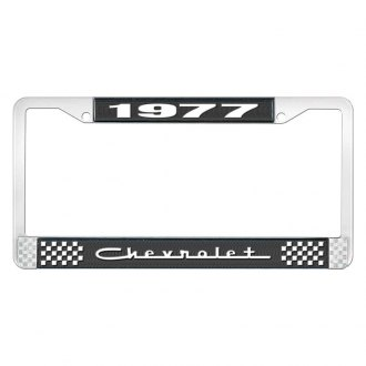 OER® - 1977 Chevrolet Black And Chrome Logo License Plate Frame with White Lettering Style 5