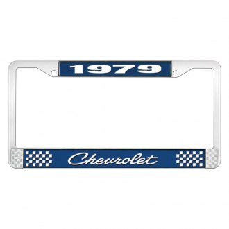 OER® - Blue / Chrome License Plate Frame with Style 4 White 1979 Chevrolet Logo