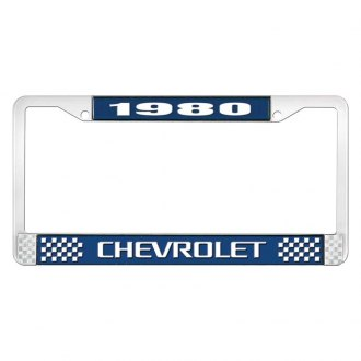 OER® - License Plate Frame with Style 3 White 1980 Chevrolet Logo