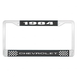 OER® - License Plate Frame with Style 1 White 1984 Chevrolet Logo