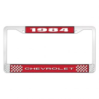 OER® - 1984 Chevrolet Red And Chrome Logo License Plate Frame with White Lettering Style 1