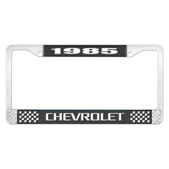 OER® - 1985 Chevrolet Black And Chrome Logo License Plate Frame with White Lettering Style 3