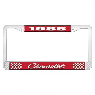 OER® - 1985 Chevrolet Red And Chrome Logo License Plate Frame with White Lettering Style 4