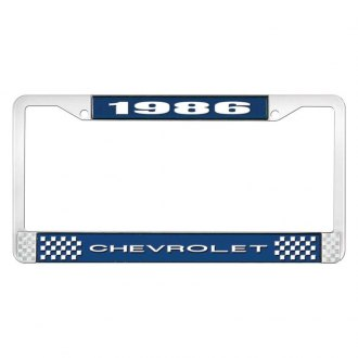 OER® - 1986 Chevrolet Blue And Chrome Logo License Plate Frame with White Lettering Style 1