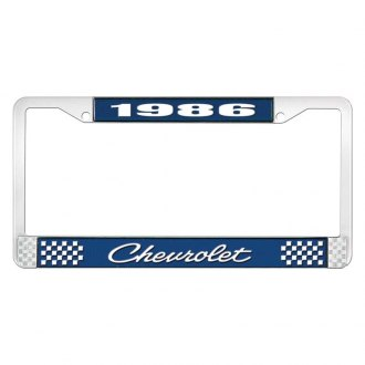 OER® - 1986 Chevrolet Blue And Chrome Logo License Plate Frame with White Lettering Style 4