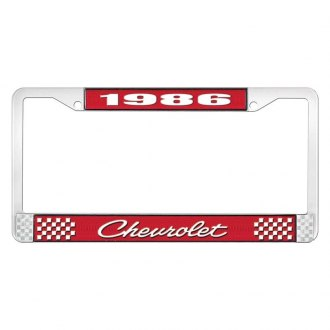 OER® - 1986 Chevrolet Red And Chrome Logo License Plate Frame with White Lettering Style 4