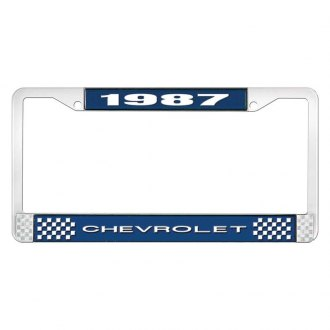 OER® - 1987 Chevrolet Blue And Chrome Logo License Plate Frame with White Lettering Style 1