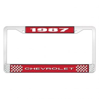 OER® - 1987 Chevrolet Red And Chrome Logo License Plate Frame with White Lettering Style 1