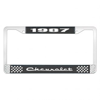 OER® - 1987 Chevrolet Black And Chrome Logo License Plate Frame with White Lettering Style 2