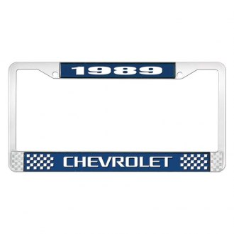 OER® - Blue / Chrome License Plate Frame with White 1989 Chevrolet Logo and White Lettering Style 3