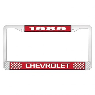 OER® - Red / Chrome License Plate Frame with Style 3 White 1989 Chevrolet Logo