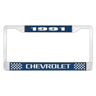 OER® - 1991 Chevrolet Blue And Chrome Logo License Plate Frame with White Lettering Style 3