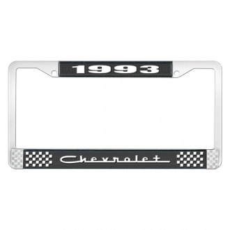 OER® - 1993 Chevrolet Black And Chrome Logo License Plate Frame with White Lettering Style 5