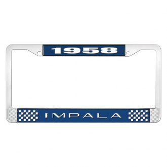 OER® - Blue / Chrome License Plate Frame with Style 2 White 1958 Impala Logo
