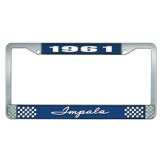 OER® - 1961 Impala Blue And Chrome Logo License Plate Frame with White Lettering Style 1