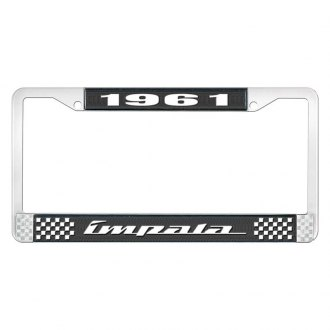 OER® - 1961 Impala Black And Chrome Logo License Plate Frame with White Lettering Style 4