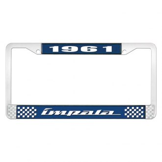 OER® - 1961 Impala Blue And Chrome Logo License Plate Frame with White Lettering Style 4