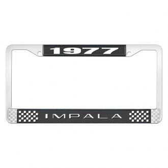 OER® - 1977 Impala Black And Chrome Logo License Plate Frame with White Lettering Style 2