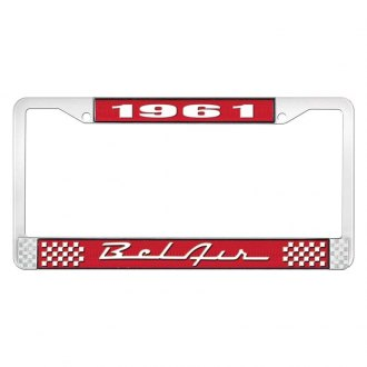 OER® - 1961 Bel Air Red And Chrome Logo License Plate Frame with White Lettering Style 1