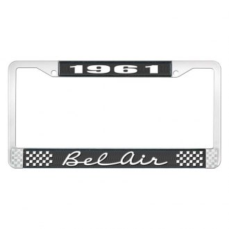 OER® - 1961 Bel Air Black And Chrome Logo License Plate Frame with White Lettering Style 2