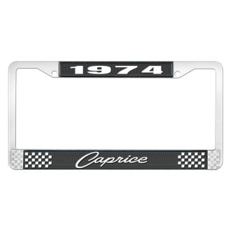 OER® - 1966 Caprice Black And Chrome Logo License Plate Frame with White Lettering Style 1